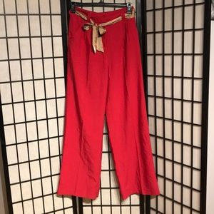 NWT Paperbag High Waist Pleated Palazzo Wide Flare